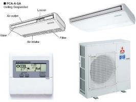 Mitsubishi PCAA36GA PUYA36NHA Ductless Split System 36000BTU Ceiling Suspended