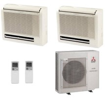 Mitsubishi MXZ2B20NA1 MFZKA09NA (TWO) Dual Zone Floor Mounted Heat Pump Mini Split System - 18000 BTU