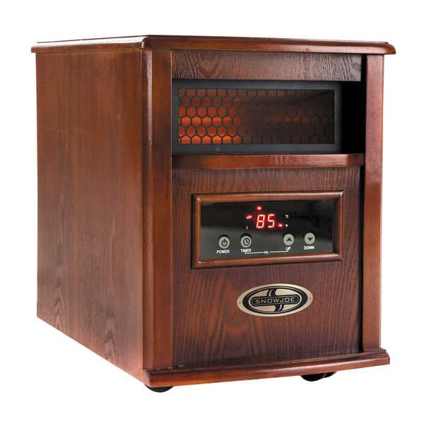 Snow Joe 1500-Watt Quartz Portable Infrared Dark Oak Wood Space Heater with Stainless Steel Diffuser and Remote Control