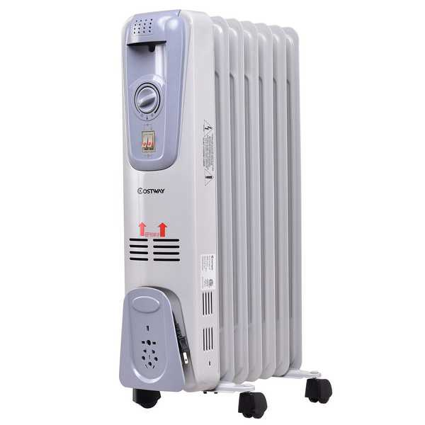 Costway 1500W Electric Oil Filled Radiator Space Heater 7-Fin Thermostat Room Radiant