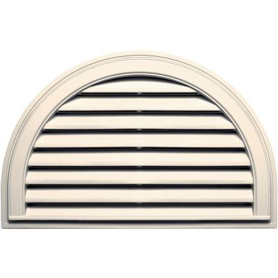 22 in. x 34 in. Half Round Gable Vent in Sandstone Beige