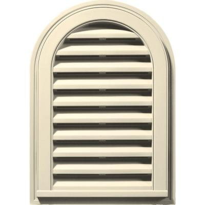 14 in. x 22 in. Round Top Gable Vent in Heritage Cream