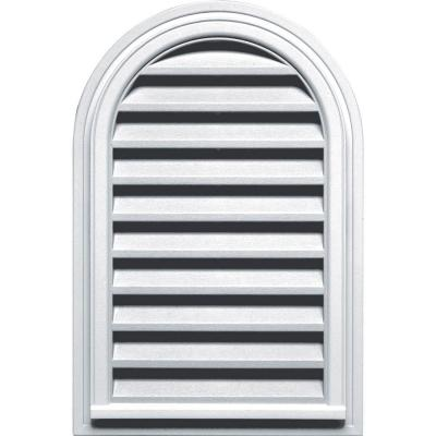 22 in. x 32 in. Round Top Gable Vent in White