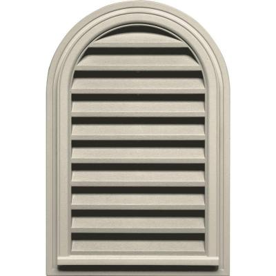 22 in. x 32 in. Round Top Gable Vent in Champagne