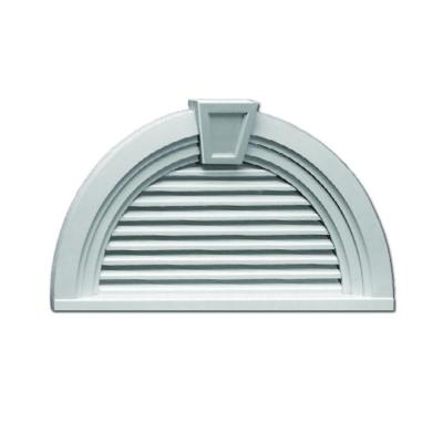 36 in. x 18-9/16 in. x 3 in. Polyurethane Functional Half Round Louver Gable Vent with Deco Trim and Keystone