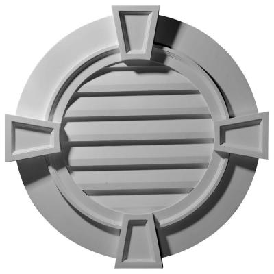 2-1/4 in. x 35-5/8 in. x 35-1/8 in. Functional Round Gable Vent with Keystones