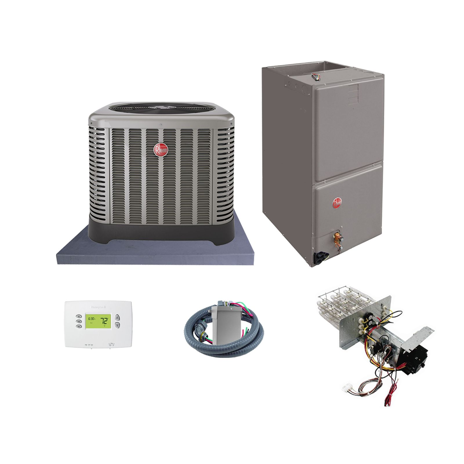 Rheem (AHRI 7492673) 5 Ton, 14.5 SEER/12 EER Classic Series, Horizontal Air Conditioner Split System and Install Kit