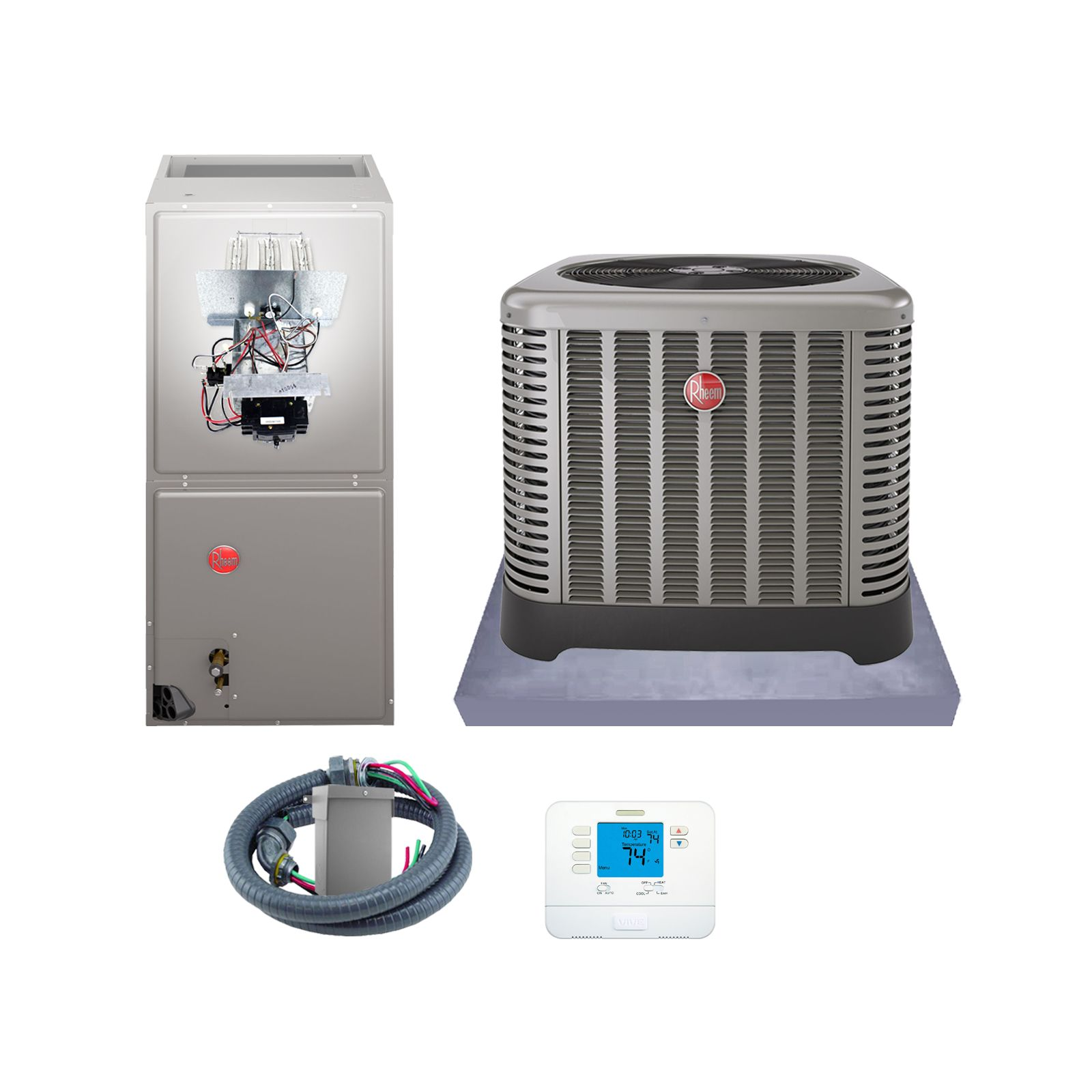 Rheem (AHRI 7512350) 3 1/2 Ton, 15 SEER/12.5 EER Classic Series, Heat Pump Split System and Install Kit
