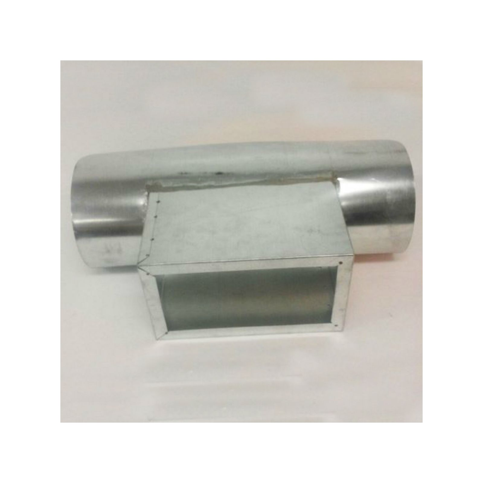"Modular Metal STRI160814F - Rectangular Saddle Tap, 26 Ga, 6"" High, 1"" Flange, 16"" X 8"" OD 14"" Saddle, 3/4"" Flange/Dovetail"