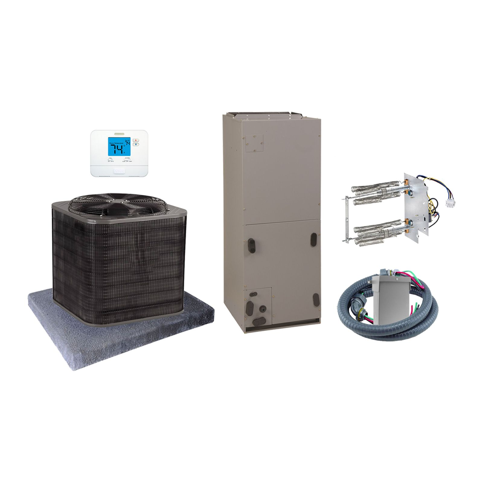 EcoTemp (AHRI 7664606) 3 Ton, 14 SEER/12 EER Horizontal Air Conditioner Split System and Install Kit