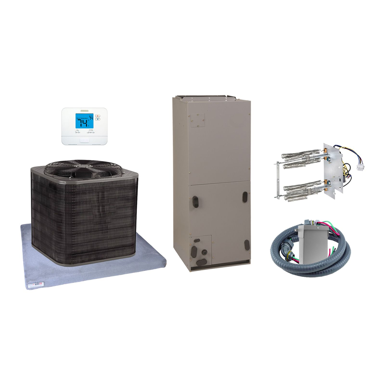 EcoTemp (AHRI 7659147) 3 1/2 Ton, 14 SEER/11.5 EER Horizontal Air Conditioner Split System and Install Kit